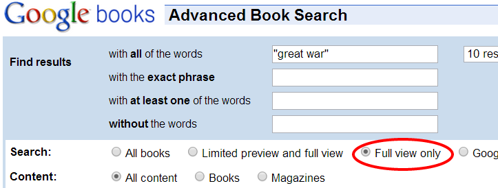 Screenshot of Google Books Advanced Search