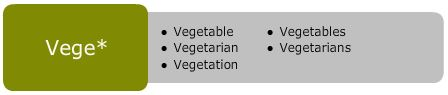 Truncating example: Vege* = vegetable, vegetables, vegetarian, vegetarians, vegetation