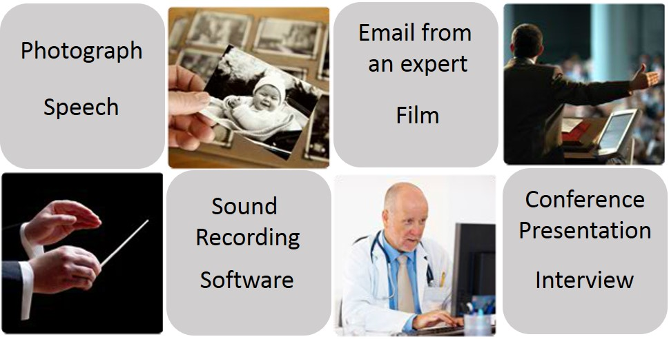 Other types of sources that can be used for research: Photograph, Speech, Email from an expert, Film, Sound Recording, Software, Conference Presentation, Interview