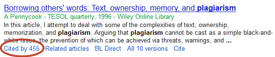 Screenshot of a citation in Google Scholar