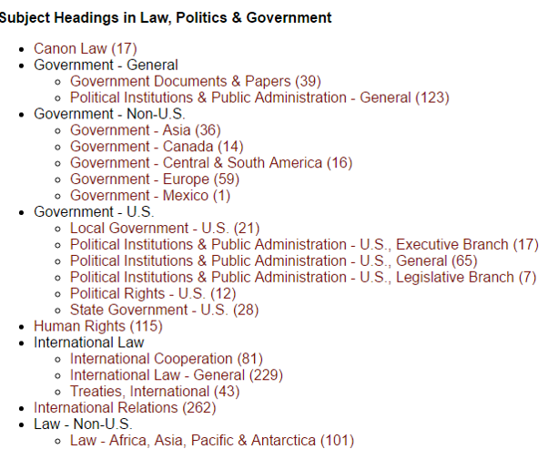 screenshot of subject headings in e-journal list