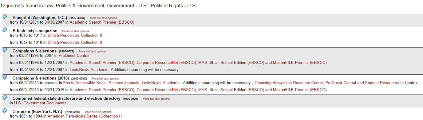 screenshot of list of journals in a specific subject in e-journal list