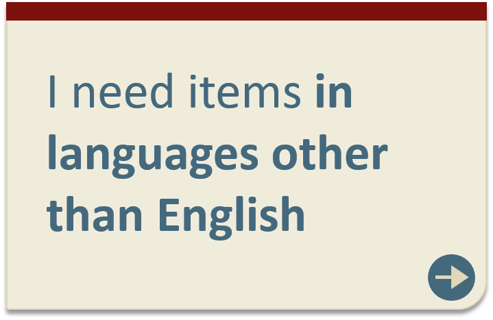Items in languages other than English