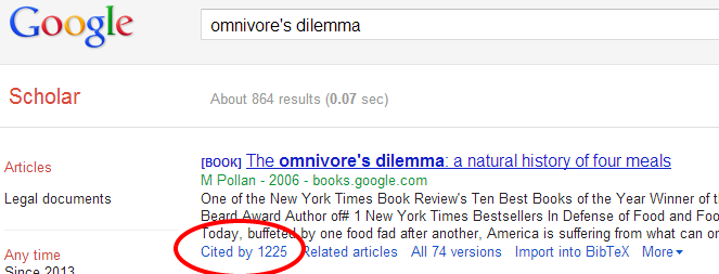screenshot of Google scholar with cited by highlighted