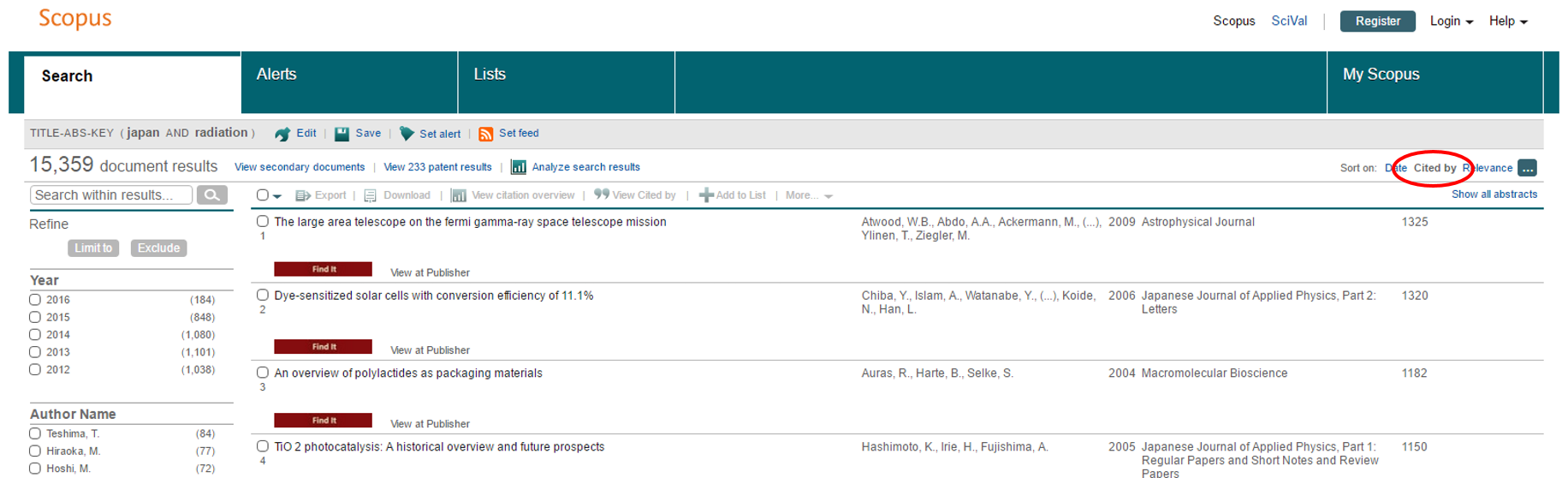 "screenshot of scopus sorted by ""Cited By"""