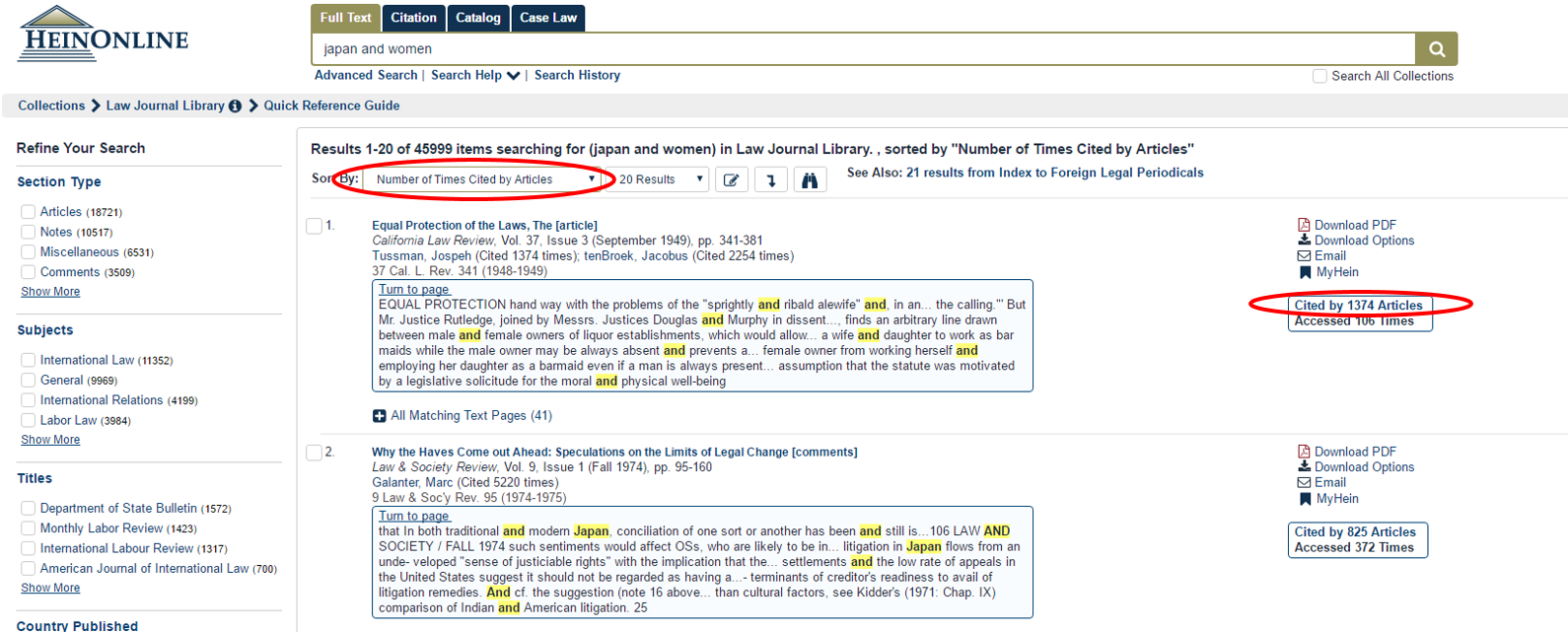 "screenshot of HeinOnline with sorting by citation and ""cited by"" highlighted"