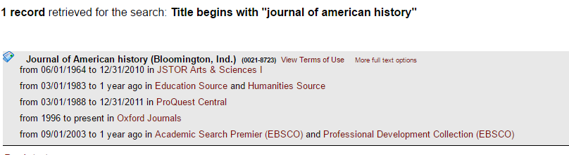 screenshot of e-journal list of results for journal access