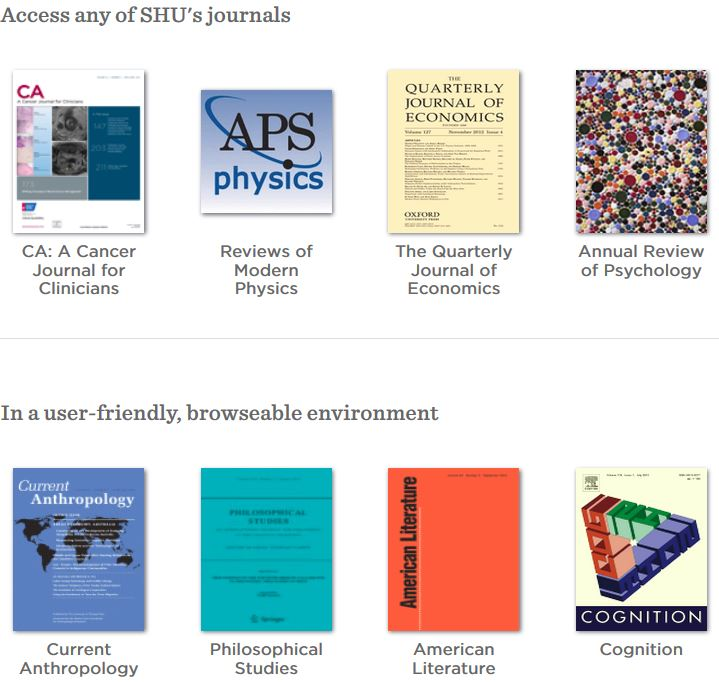 "A sample of BrowZine search results with the words: ""Access any of SHU's journals in a user-friendly, browse-able environment"""