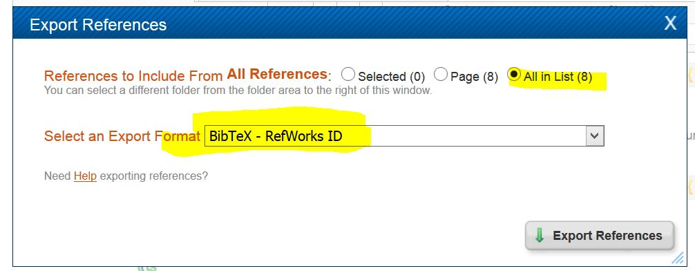"Aprompt asking to select an Export Format ""BibTeX - RefWorks ID is selected"""