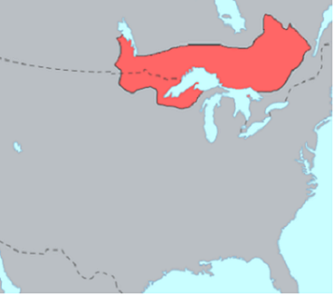 A map highlighting a portion Southeastern Canada