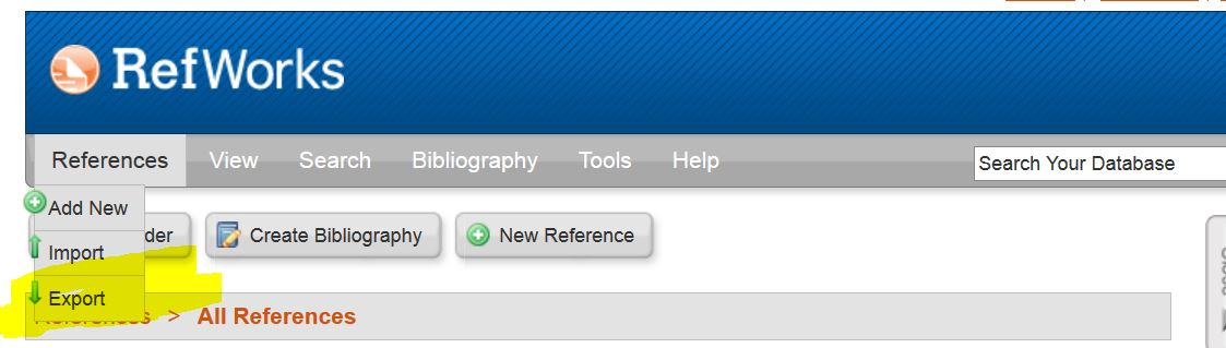 "Example of Refworks website with ""References - > Export highlighted"""