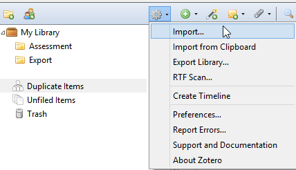 "Example where the user has selected the ""Gear"" icon in Zotero and is selecting ""Import"""