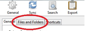 "A red circle around ""Files and Folders"" tab"