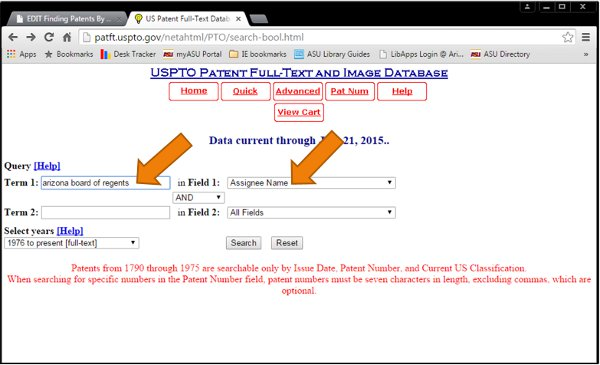 Screenshot of assignee name search in USPTO databases