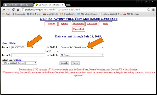 Screenshot of CPC classification searching in USPTO databases