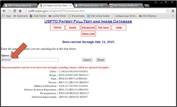 Screenshot of patent number search in PatFT