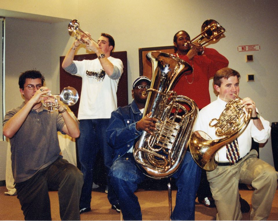 Archive shot of college band members