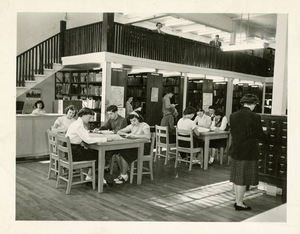 Archive shot of students in the old library building