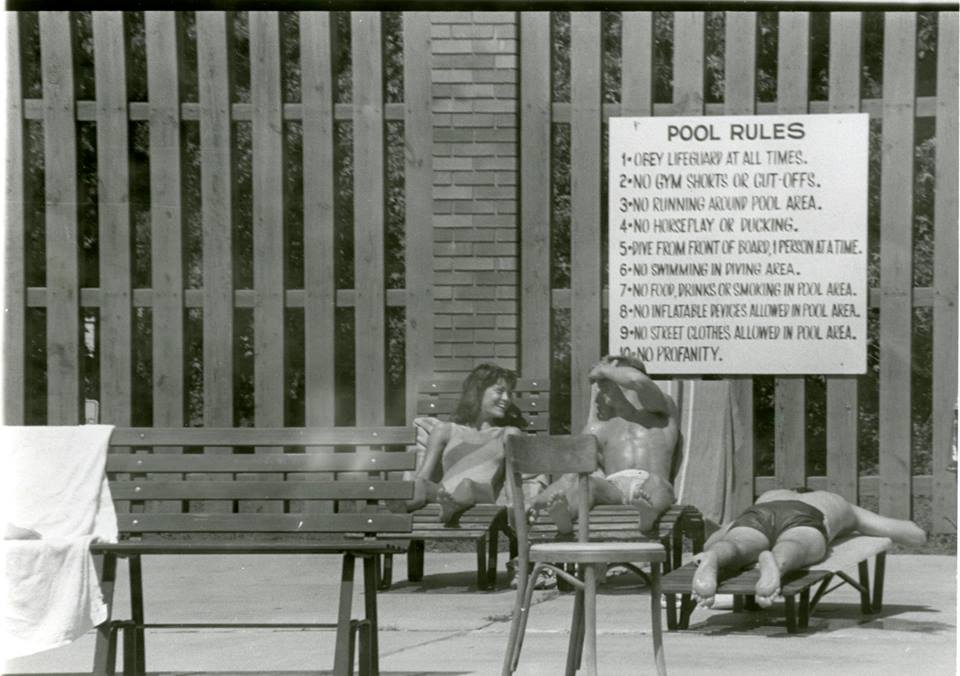 Archive shot of people at the pool