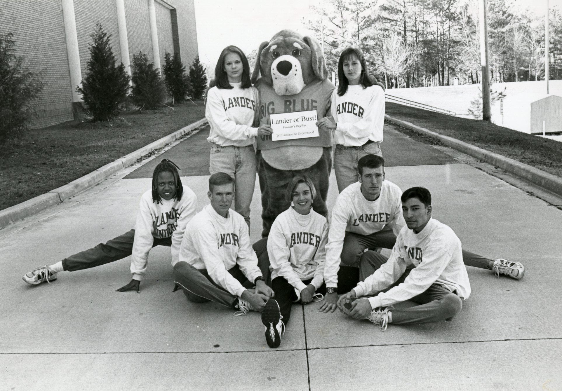 Archive shot of students with the old mascot Big Blue