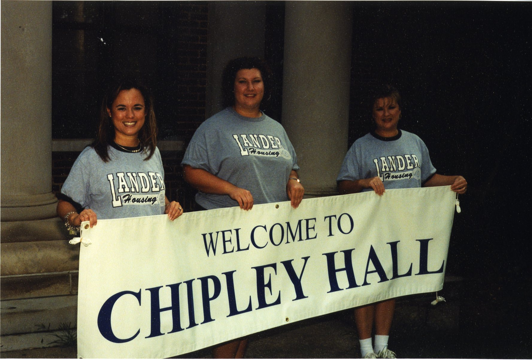 Archive shot of students welcoming students to Chipley Hall