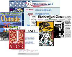 Collage of magazine, journal and newspaper covers