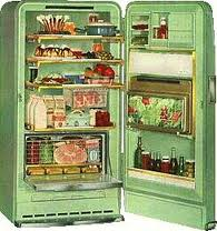 [open refrigerator with contents]