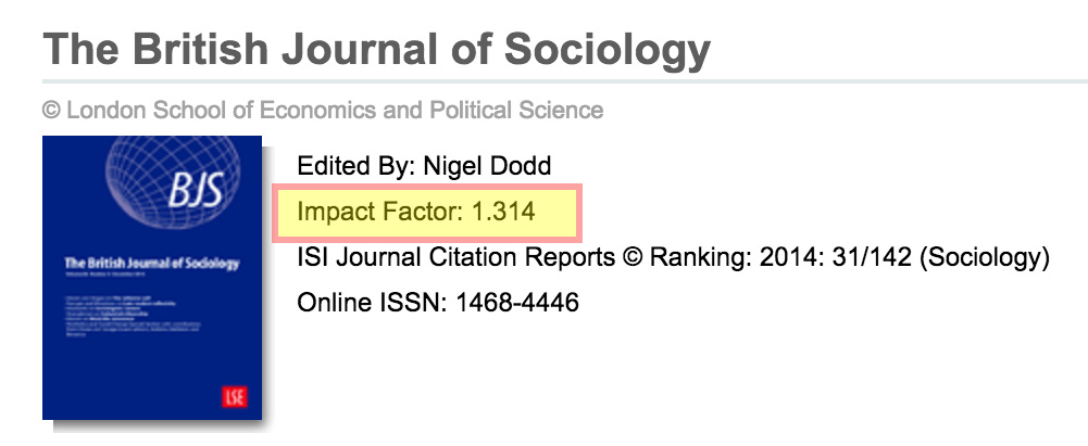 Image showing a journal page with Impact factor