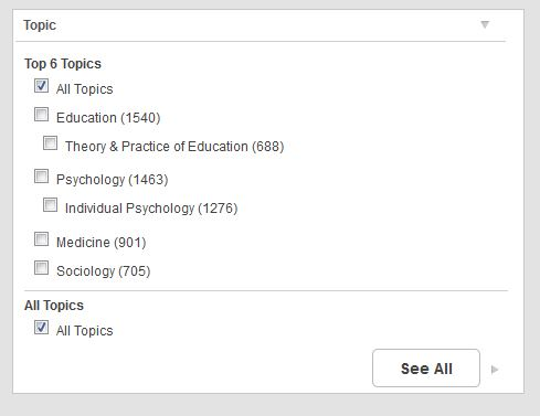 The topics section of the search results list.