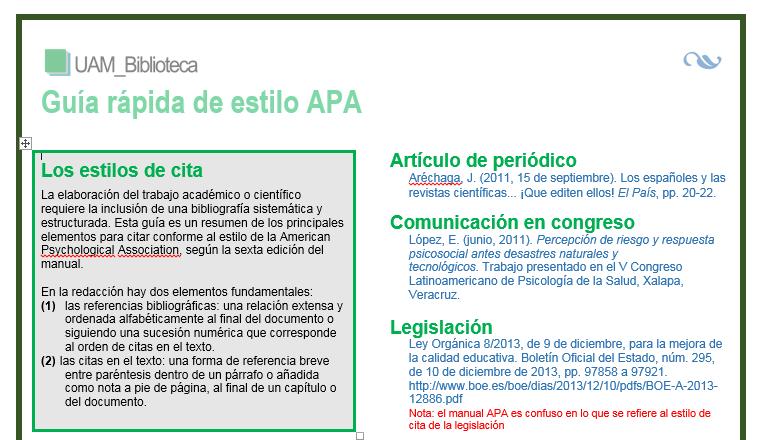 Guía rápida de estilo APA