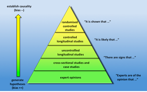 Qualitative level of evidence pyramid