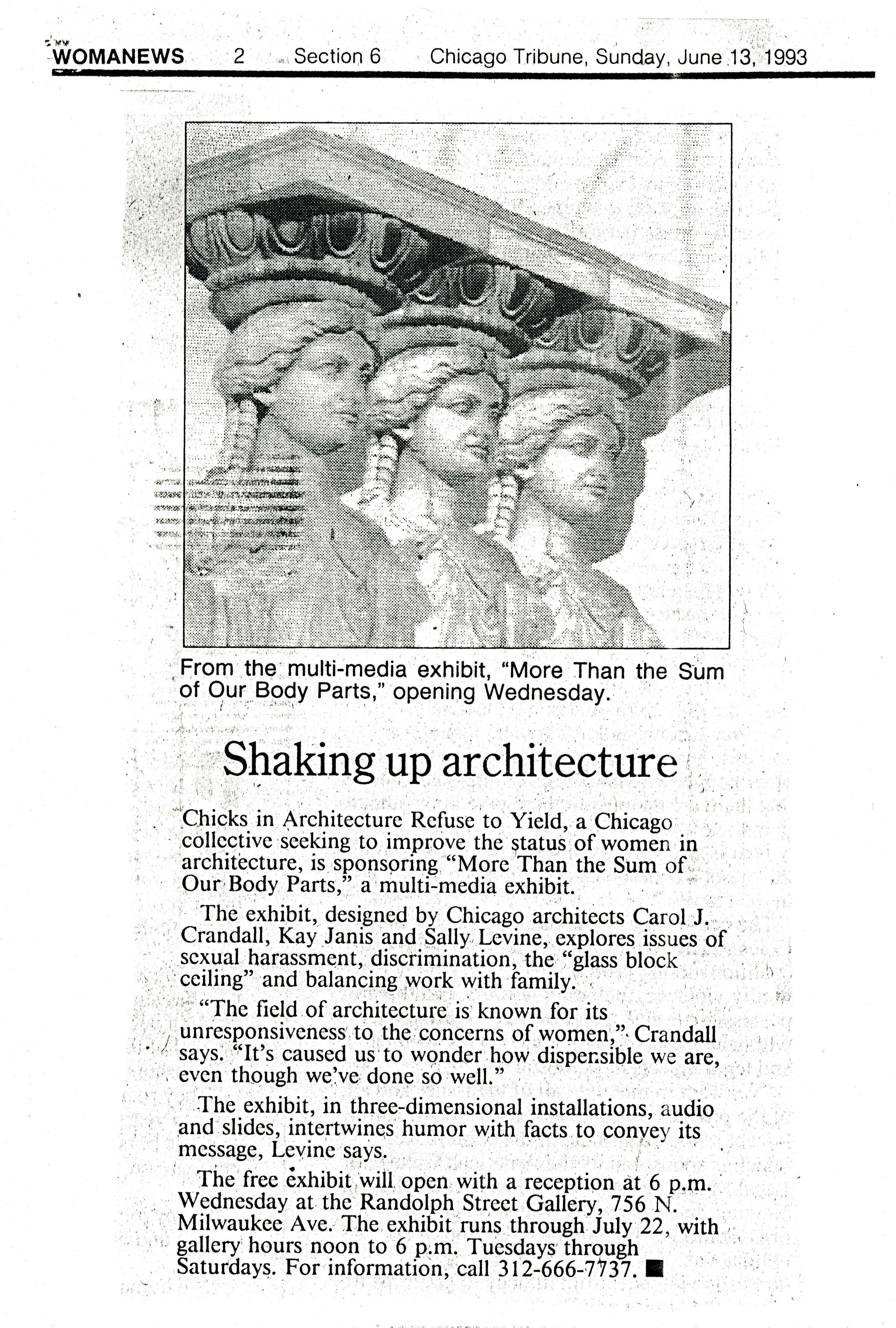 Photocopy of newspaper article