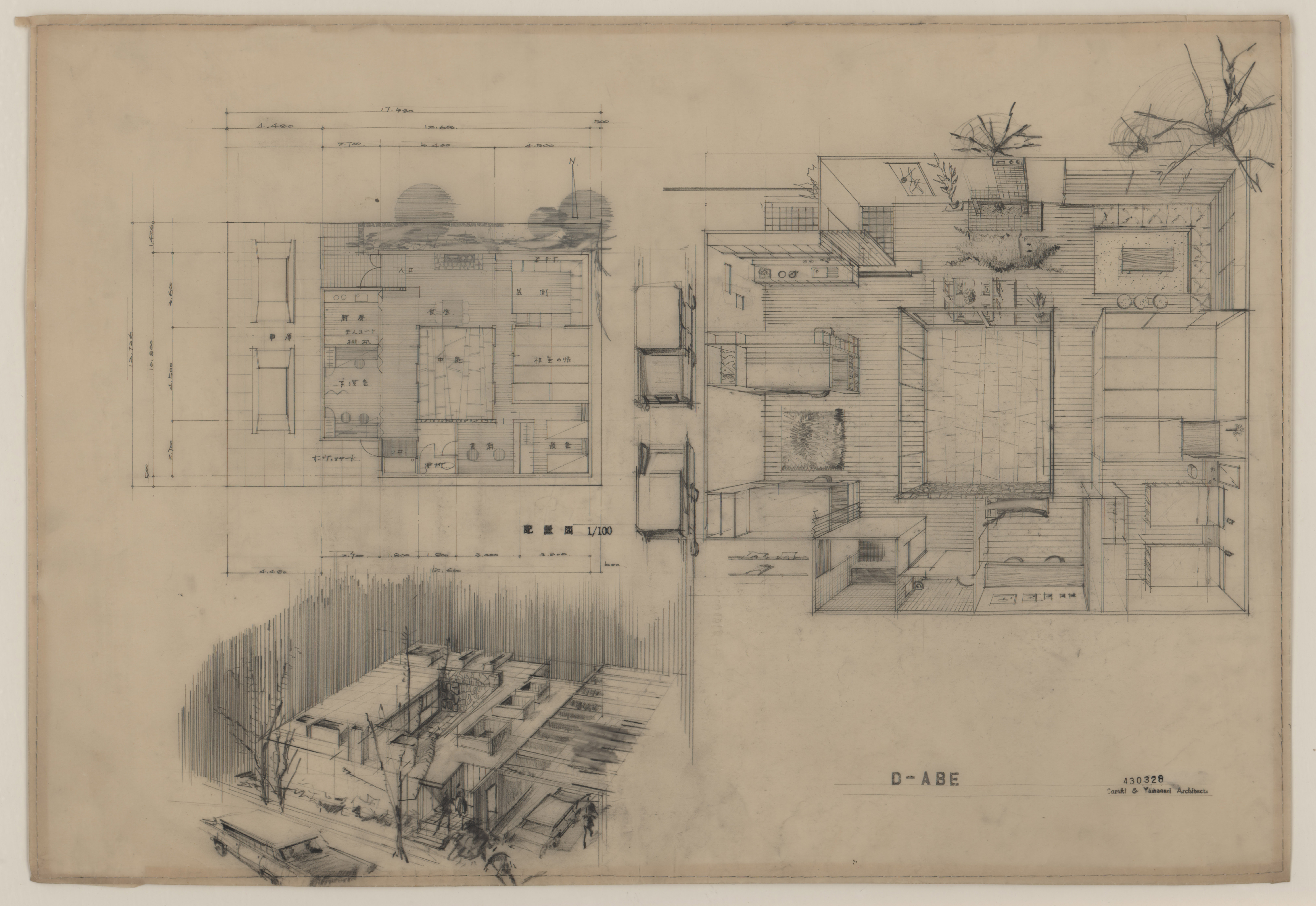 Drawing in pencil on linen, several perspectives of a Japanese house