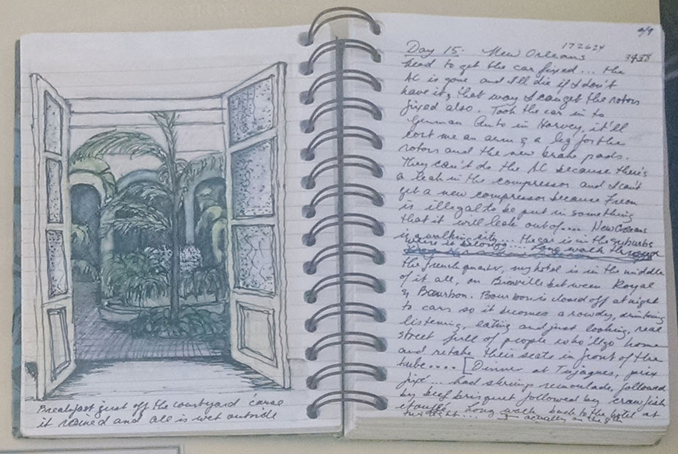 Photograph from top down of open journal. On left is an ink sketch of a garden through two doors. On the right is a handwritten diary entry.