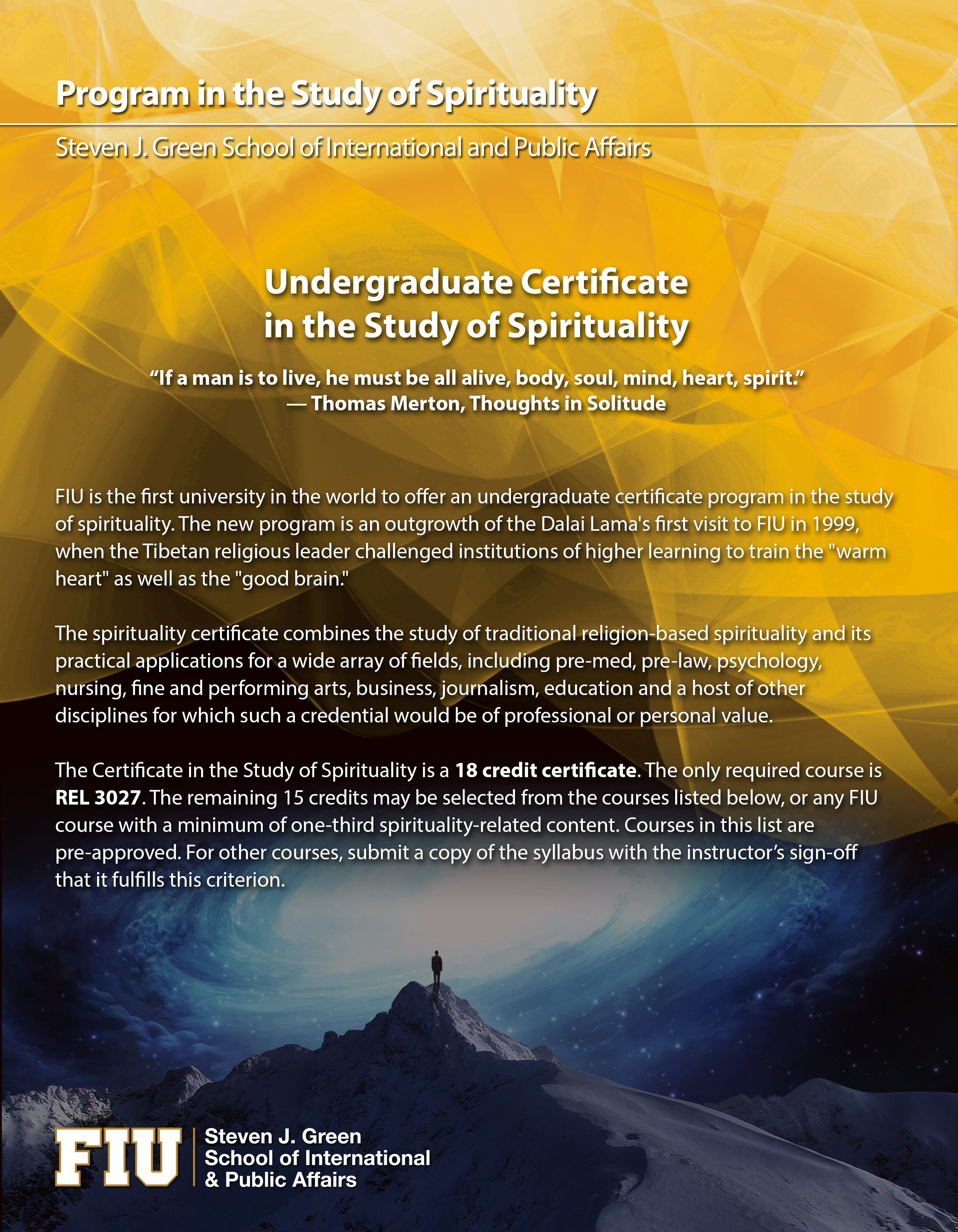 fiu application essay healthcare mba fiu business graduate essays  welcome program in the study of spirituality resource guide center for spirituality health university of florida