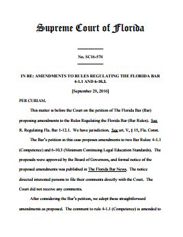 Amendments to Rules Regulating the Florida Bar 4-1.1 and 6-10.3