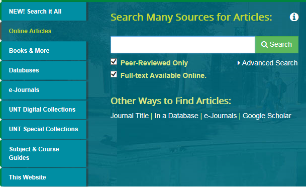 Online articles search option