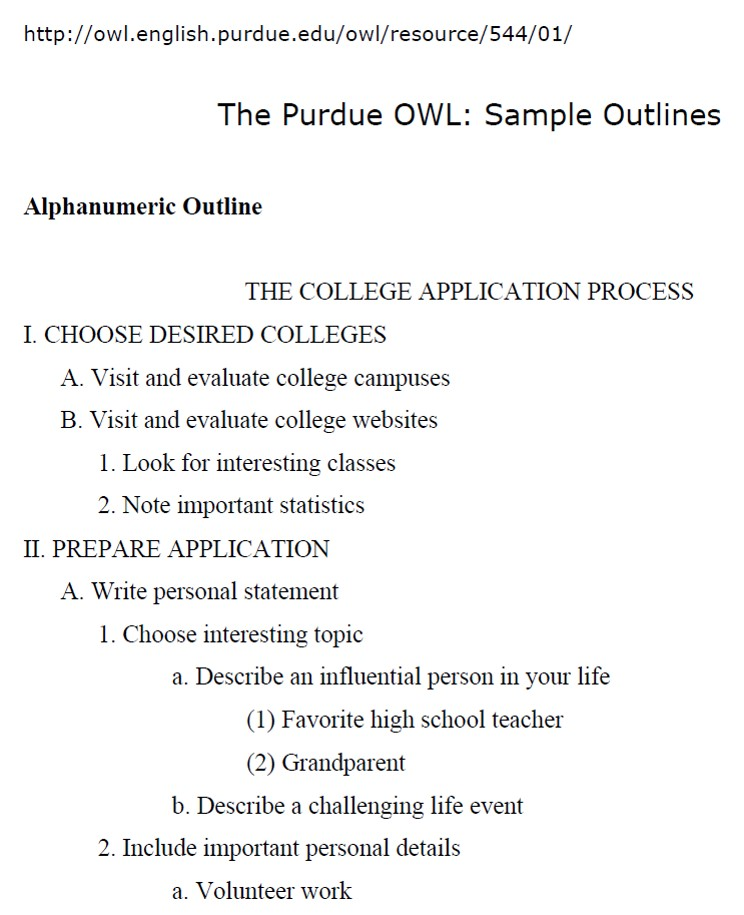 Sample Outlines From Purdue Owl