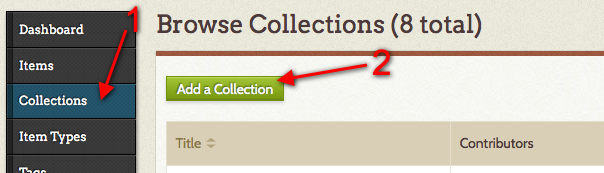 Add collection button