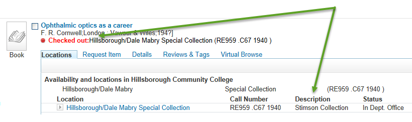 image of library catalog search result for stimson item