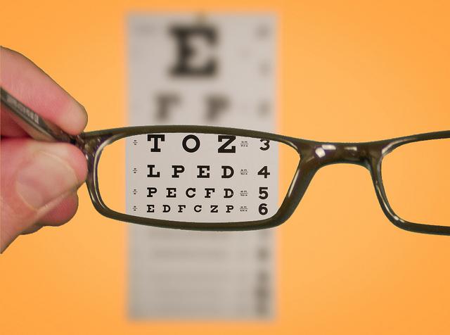 eyeglasses and eyechart