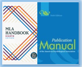 Book cover images of the APA and MLA style books.