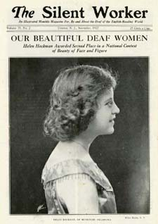 A Silent Worker cover showing a side profile picture of a deaf dancer, Helen Heckman.
