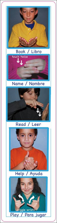 The image shows children signing and the English/Spanish words underneath each photo.