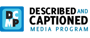 The image at left is a blue, black, and white logo from the Described and Captioned Media website