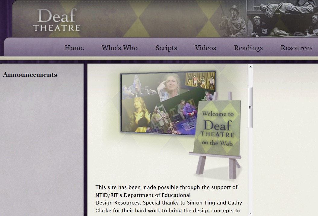 Screenshot of the home page of the Deaf Theatre website.
