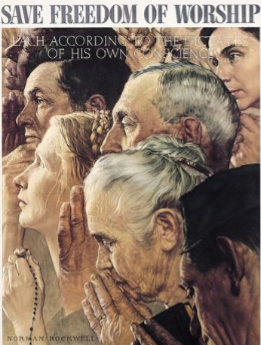 "Image of Norman Rockwell artwork ""Save Freedom of Worship""."