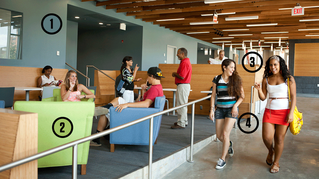 A photo showing redesigned 'deaf space' and deaf students walking or seated and conversing.