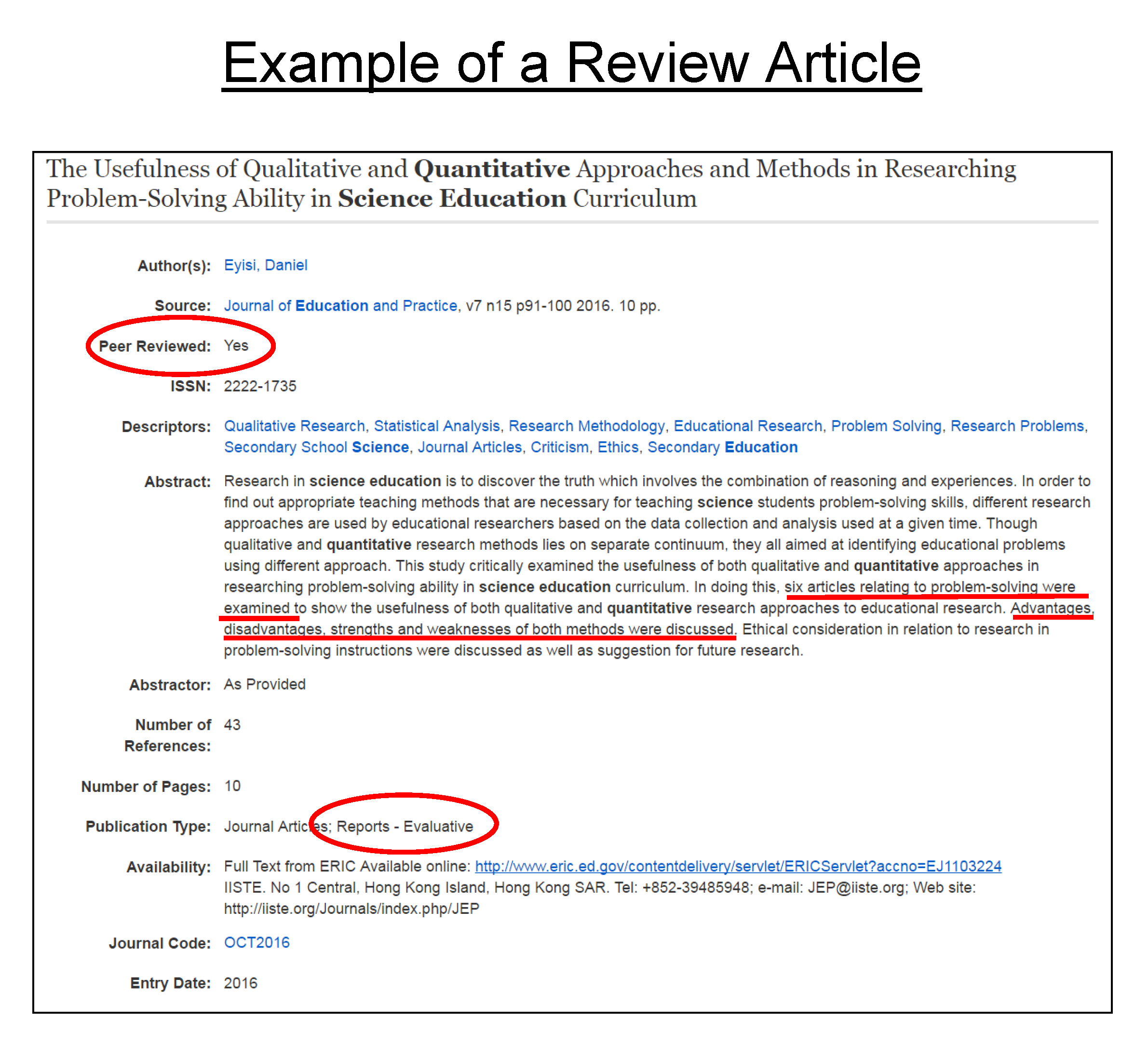 Finding and Summarizing Research Articles - APA Format