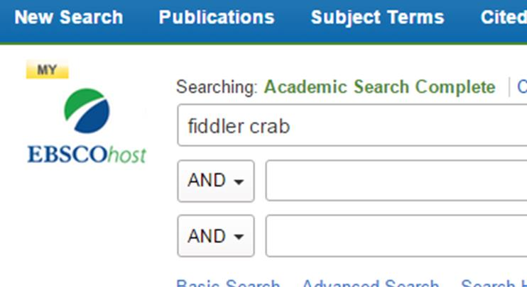 Log in to EBSCOhost is represented by a yellow My appearing above the logo in the top left.